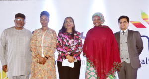 From left: Mr. Soji Apampa, CEO, Convention & Business Integrity; Mrs. Bamidele Abiodun, First Lady of Ogun State; Ibukun Awosika, Chairman FirstBank; Dr. Zainab Shinkafi A. Bagudu, First Lady of Kebbi State; Prof. Mefta Kandarp, Senior Lecturer, IESE, Business School Barcelona at the FirstGem third year anniversary conference held in Lagos last year.