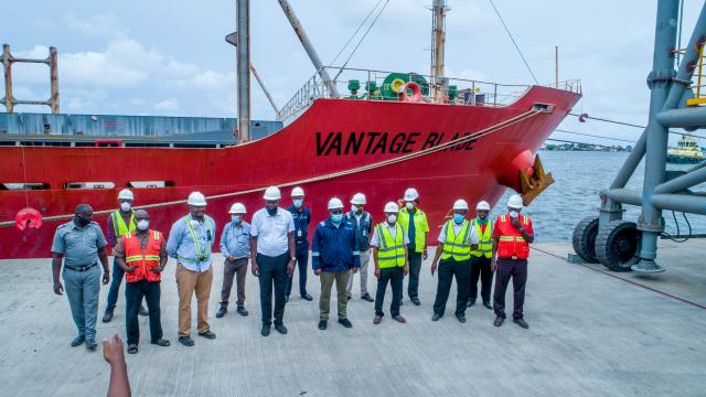 A vessel conveying Nigeria's first clinker export to Senegal from Dangote Export Terminal, Apapa, Lagos.