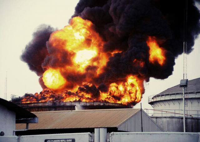 Oando tank farm on fire