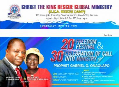 Pastor Onolapo 20th anniversary