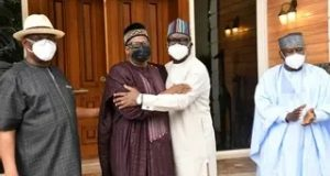 Bala Mohammed and Samuel Ortom embrace