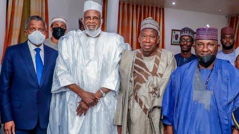 L-R: Aliko Dangote, Aminu Alhassan Dantata, Abdullahi Ganduje and Abdulsamad Rabiu, after Dangote, Rabiu reconciliation on Thursday, April 15, 2021