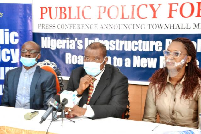 L-R: Editor, Business Hallmark, Mr. Okey Onyenweaku; Chairman, Business Hallmark Public Policy Forum, Sir Marc Wabara and Executive Director, Dr. Betty Emeka- Obasi, during the press conference at Morning Side Suites, Victoria Island, Wednesday.