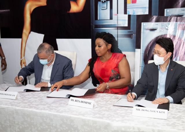 L-R: Managing Director, Fouani Nigeria Limited, Mr. Mohamed Fouani and LG Home Appliances' Brand Ambassador; Nollywood Actress, Ms Rita Dominic, at the official brand ambassadorship signing ceremony held in Victoria Island, Lagos, Nigeria.