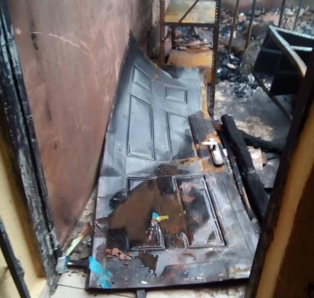 Burnt INEC office
