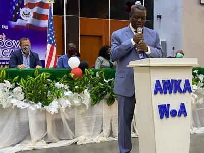 Vice Chancellor of the Nnamdi Azikiwe University Professor Charles Esimone Delivering Remarks During the Opening of the Window on America in Awka.