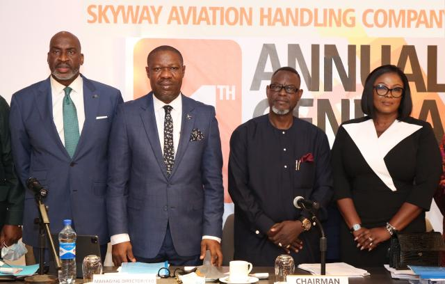 L-R: Barr. Chike Ogeah, Vice Chairman, Skyway Aviation Handling Company (SAHCO) PLC; Basil Agboarumi, MD/CEO, SAHCO PLC; Dr (Barr.) Taiwo Afolabi MON, Chairman, SAHCO PLC and Omolara Bello, Assistant General Manager, Legal Services and Company Secretary, SAHCO PLC during SAHCO's 11th Annual General Meeting at Marriott Hotel, GRA, Ikeja, Lagos.
