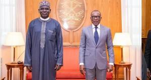 Nigeria Ambassador to Benin, Tukur Buratai and President of Benin, Patrice Talon