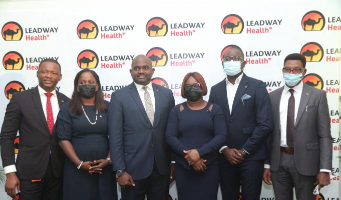 L- R: Dr. Gideon Anumba Head, Operations; Mrs Temilade Daniel-Owo, Head, Distribution Channels; Dr. Tokunbo Alli, Chief Executive Officer; Mrs Oluwatoyin Ogunmoyele Head, Business Development and Sales; Dr. Temiptope Falaiye, Head, Medical Services, and Mr. Emmanuel Adebayo, Head, Finance, all of Leadway Health, during the media launch of Leadway Health, in Lagos, on Thursday, July 29, 2021